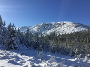 The first snow in the Karkonosze Mountains Poland 2019